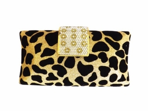 Cheetah Print Clutch Handbag with Rhinestone Clip and Attatched Chain