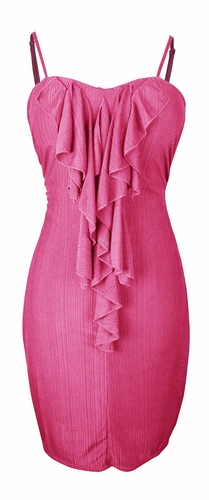 Fuchsia Cocktail Party Ruffled Center Dress