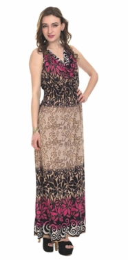 Fuchsia 2 Tone Tropical Print Cowl Neck Sleeveless Maxi Dress