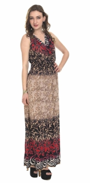 Red 2 Tone Tropical Print Cowl Neck Sleeveless Maxi Dress
