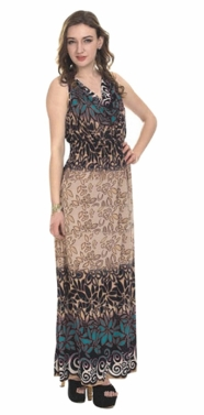 Teal 2 Tone Tropical Print Cowl Neck Sleeveless Maxi Dress