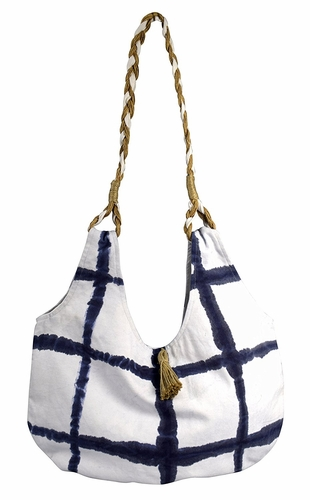 Navy Cotton Canvas Rope Accent Handle Hobo Bags Beach Boat Bags