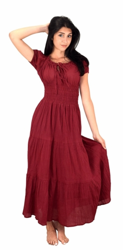 Red Cotton Gypsy Tiered Renaissance Cinched Waist Maxi Dress