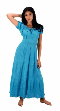 Turquoise Cotton Gypsy Renaissance Waist Maxi Dress