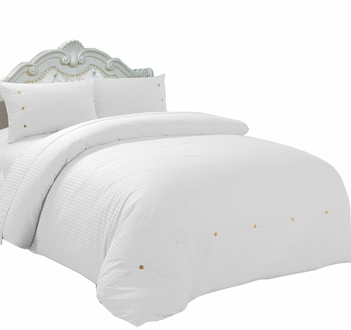 White Button Sateen Stripe 2 pcs Comforter Set