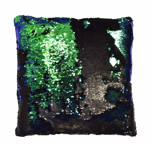Couture Home Collection Haute Décor Reversible Sequin Decorative Color Changing Mermaid Throw Pillow with Insert (Black and Teal)