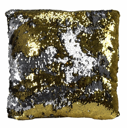 Gold Silver Haute D Reversible Sequin Decorative Color Changing Mermaid Throw Pillow