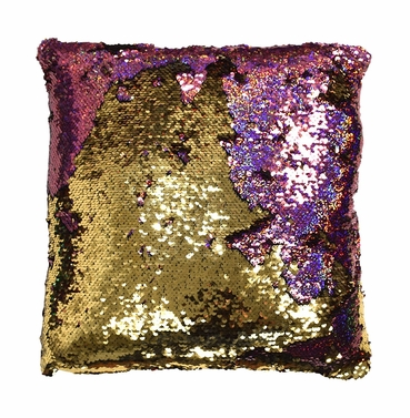 Pink Gold Reversible Sequin Decorative Color Changing Mermaid Throw Pillow