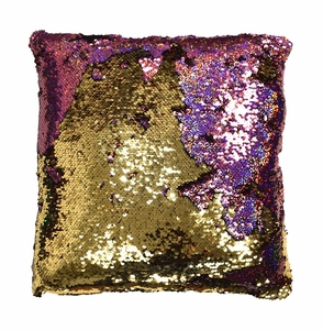 Couture Home Collection Haute Décor Reversible Sequin Decorative Color Changing Mermaid Throw Pillow with Insert (Pink and Gold)