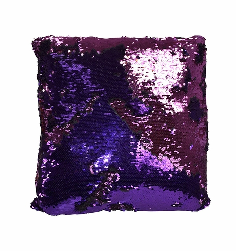 Purple Pink Haute D Reversible Sequin Decorative Color Changing Mermaid Throw Pillow