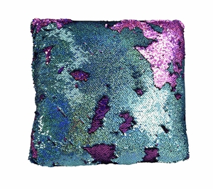 Purple Turquoise Haute D Reversible Sequin Decorative Color Changing Mermaid Throw Pillow
