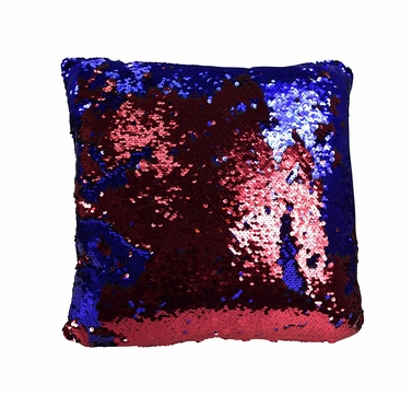 Red Blue Haute D Reversible Sequin Decorative Color Changing Mermaid Throw Pillow