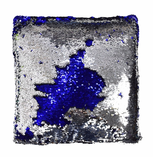 Silver Blue Reversible Sequin Decorative Color Changing Mermaid Throw Pillow