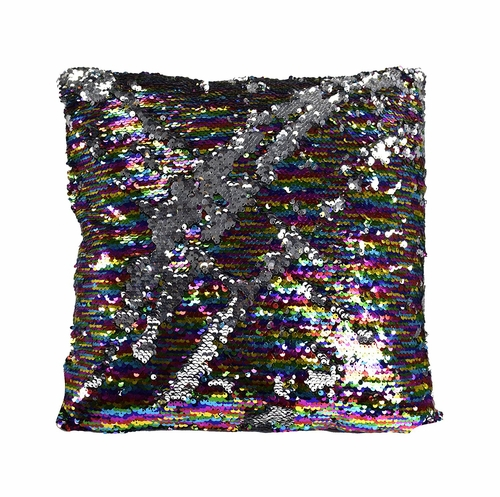 Silver Rainbow Haute D Reversible Sequin Decorative Color Changing Mermaid Throw Pillow