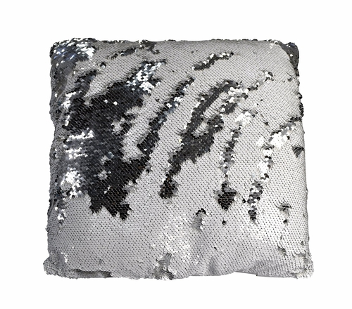 Couture Home Collection Haute D�cor Reversible Sequin Decorative Color Changing Mermaid Throw Pillow with Insert (Silver White)