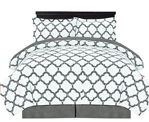 Premium Quality Ultra Soft Reversible Fretwork Print Elegant Comforter Bed in Bag 8 piece Set with Alternative Pillow shams and Pillowcases Grey
