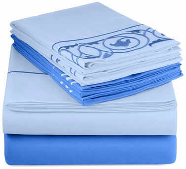 Blue Vine Embossed Embroidery 6 pcs Fitted Sheet Set Dark