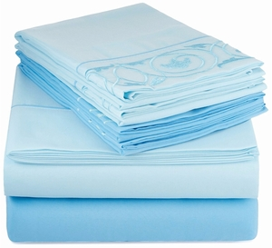 Blue Vine Embossed Embroidery 6 pcs Fitted Sheet Set Light
