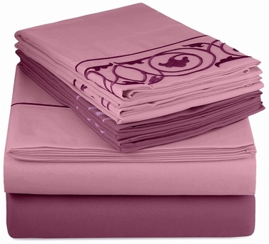 Purple Vine Embossed Embroidery 6 pcs Fitted Sheet Set