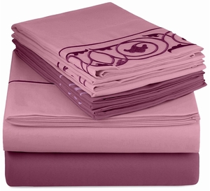 Couture Home Collection Vine Embossed Embroidery 6 pcs Fitted Sheet Set Purple