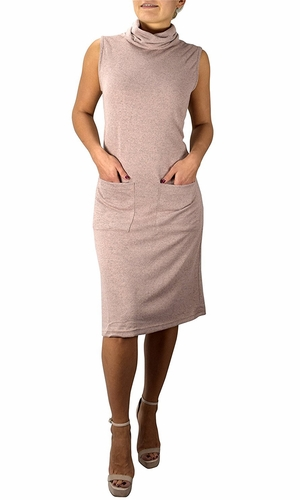 Blush Cowl Neck Sleeveless Sweater Dress with Pockets