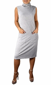 Grey Cowl Neck Sleeveless Sweater Dress with Pockets
