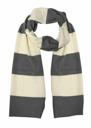 Grey/White 100% Cashmere Soft and Warm Rugby Striped Scarf