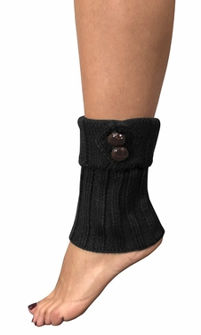 Black Adjustable Knitted Winter Leg Warmers with Cute Buttons