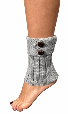 Grey Cozy Adjustable Knitted Winter Leg Warmers with Cute Buttons