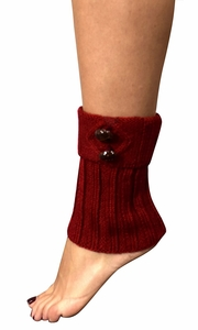 Cozy Soft Adjustable Knitted Winter Leg Warmers with Cute Buttons Red