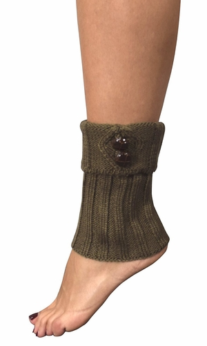Taupe Adjustable Knitted Winter Leg Warmers with Cute Buttons