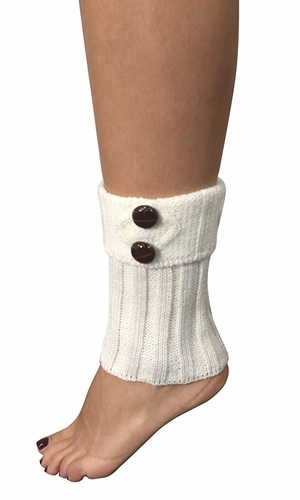Cozy Soft Adjustable Knitted Winter Leg Warmers with Cute Buttons White