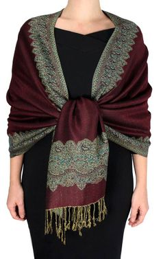 Cranberry Red Dark Gold Ravishing Reversible Pashmina Shawl
