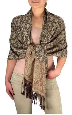 Cream Brown Royal Vine Vintage Pashmina Paisley Jacquard Scarf Shawl Wrap