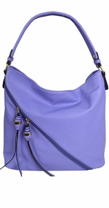 Cross Bag Zipper Smooth Hobo Fashion Shoulder Bag for Women Lavender