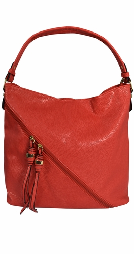 Red Cross Bag Zipper Smooth Hobo Fashion Shoulder Bag for Women