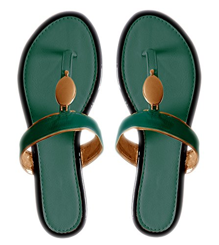 Blue Boho Gold Oval Lined Flat Flip Flop Summer Sandals