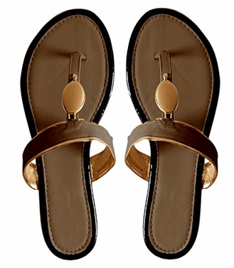 Brown Boho Gold Oval Lined Flat Flip Flop Summer Sandals