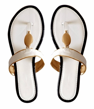 White Boho Gold Oval Lined Flat Flip Flop Summer Sandals
