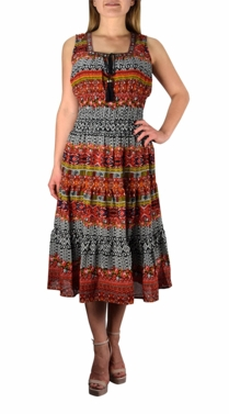Orange Damask Print Neck Tie  Tiered Summer Midi Dress