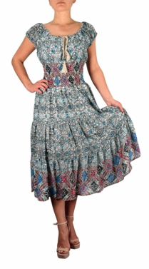 White/Blue Damask Print Neck Tie  Tiered Summer Midi Dress