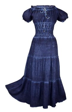 Dark Blue Renaissance Vintage Boho Cotton Smocked Gypsy Tank Dress