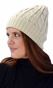 Beige Double Layer Fleece Lined Unisex Cable knit Winter Beanie Hat Cap