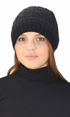 Black Fleece Lined Unisex Cable knit Winter Beanie Hat Cap