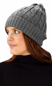 Double Layer Fleece Lined Unisex Cable knit Winter Beanie Hat Cap Grey