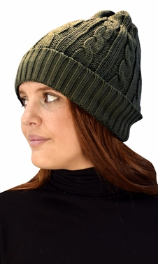 Olive Fleece Lined Unisex Cable knit Winter Beanie Hat Cap