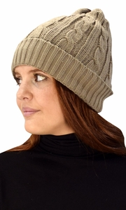 Taupe Fleece Lined Unisex Cable knit Winter Beanie Hat Cap
