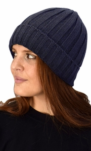 Navy 03 Double Layer Fleece Lined Unisex Striped knit Winter Beanie Hat Cap