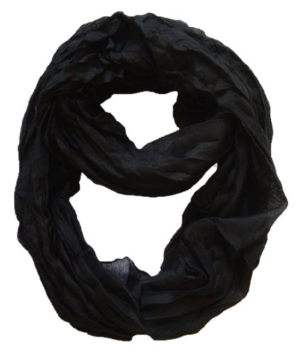 Peach Couture Fashion Lightweight Crinkled Infinity Loop Scarf (Black)