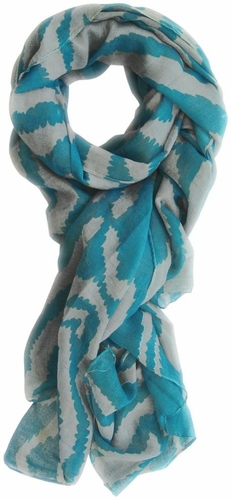 Electrifying Stylish Zebra Animal Print Fashion Scarf/wrap/shawl (Blue/Grey)